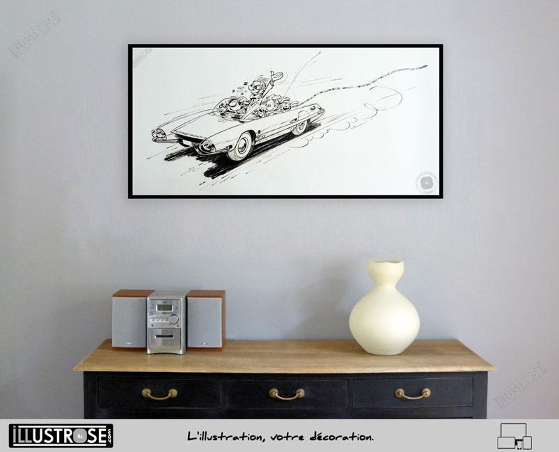 Affiche poster illustration BD signé et encadré André Franquin, 'Spirou et Fantasio, Turbotraction' sur papier d'art - Illustrose