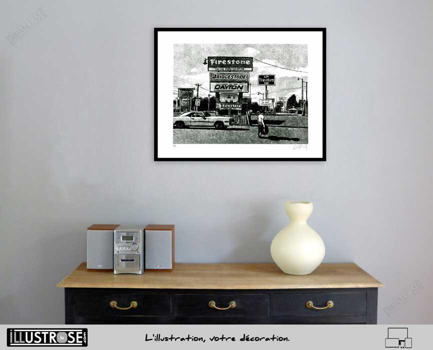 Estampe encadrée, signée et numérotée Route 66 Firestone Jean-Claude Götting - Illustrose
