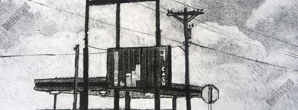 Estampe encadrée, signée et numérotée Route 66 Gas Jean-Claude Götting - Illustrose