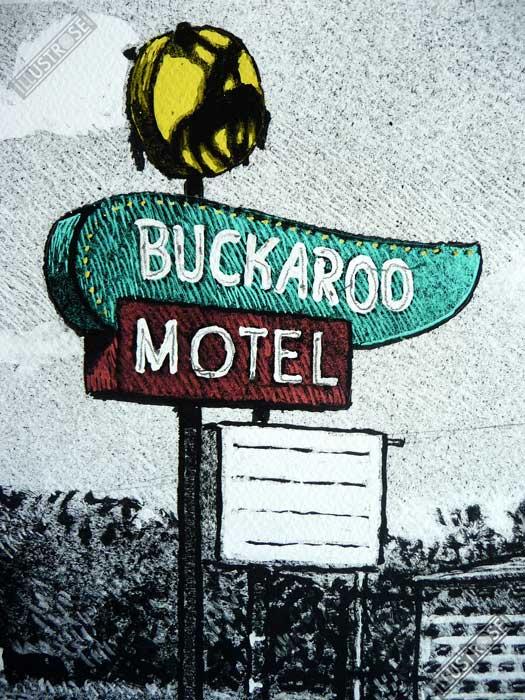 Estampe encadrée, signée et numérotée Motel US Jean-Claude Götting - Illustrose
