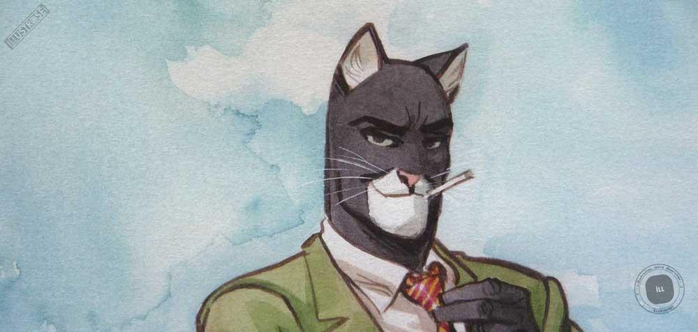 Affiche d'art poster BD signée encadrée Juanjo Guarnido, Blacksad 'Bodyguard' sur papier d'art - Illustrose
