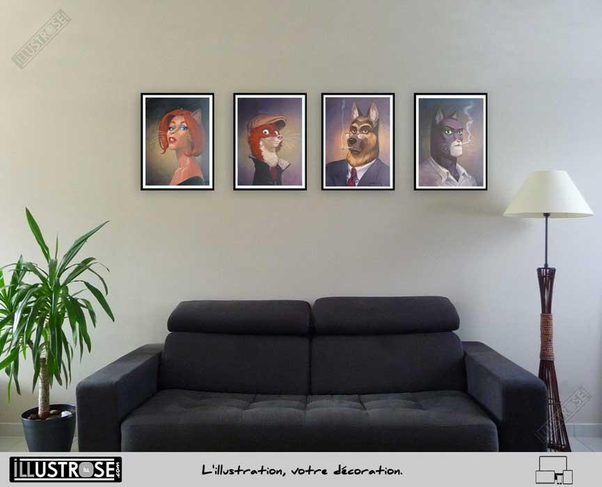 Affiche BD encadrée Blacksad 'Portraits John Weekly Natalia Smirnov' Juanjo Guarnido - Illustrose