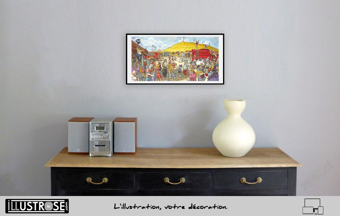 Affiche BD encadrée, signée Blacksad 'Sunflower circus' Juanjo Guarnido - Illustrose
