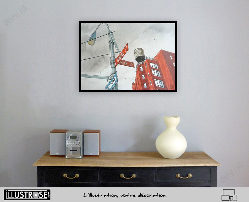 Affiche illustration encadrée 'N.M Street' André Juillard - Illustrose