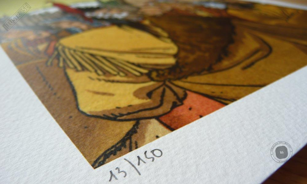 Affiche poster BD signé et encadré André Juillard, 'Les indiens du Canada, plumes au vent' sur papier d'art - Illustrose