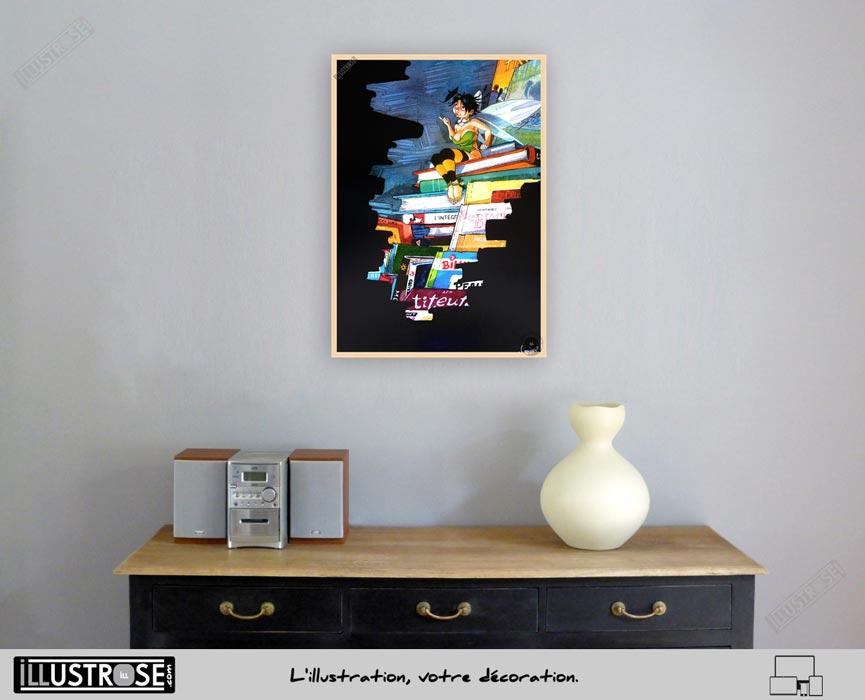 Affiche édition d'art BD Peter Pan 'Clochette et les livres' de Régis Loisel - Illustrose
