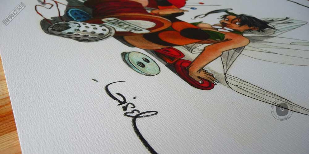 Affiche édition d'art BD Peter Pan 'Clochette, fil à coudre' de Régis Loisel - Illustrose