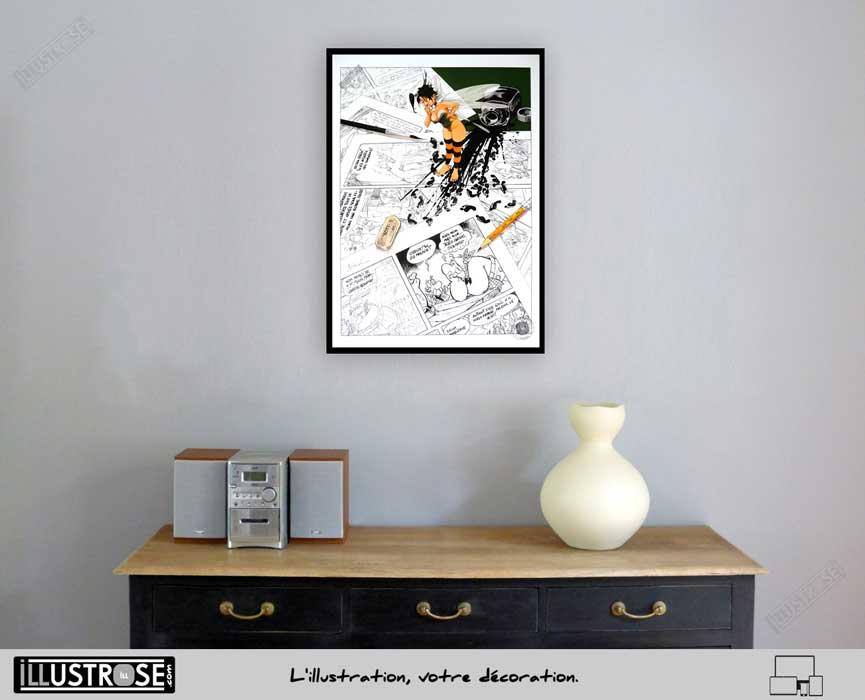 Affiche édition d'art BD Peter Pan 'Clochette, hommage à Uderzo' de Régis Loisel - Illustrose