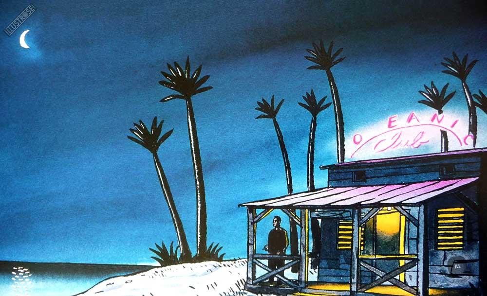 Affiche illustration 'Jazz sur la plage' Loustal - Illustrose