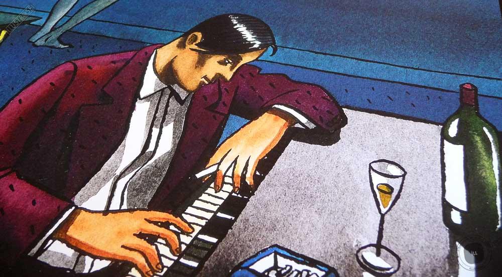 Affiche illustration 'Piano dans le salon' Loustal - Illustrose