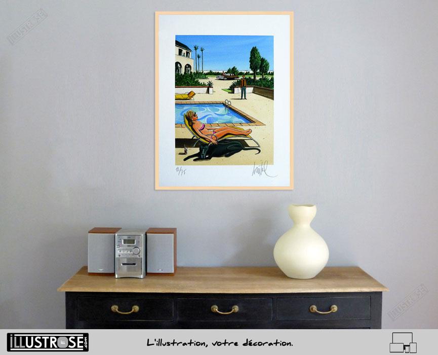 Estampe encadrée et numérotée Black-Dog Loustal - Illustrose