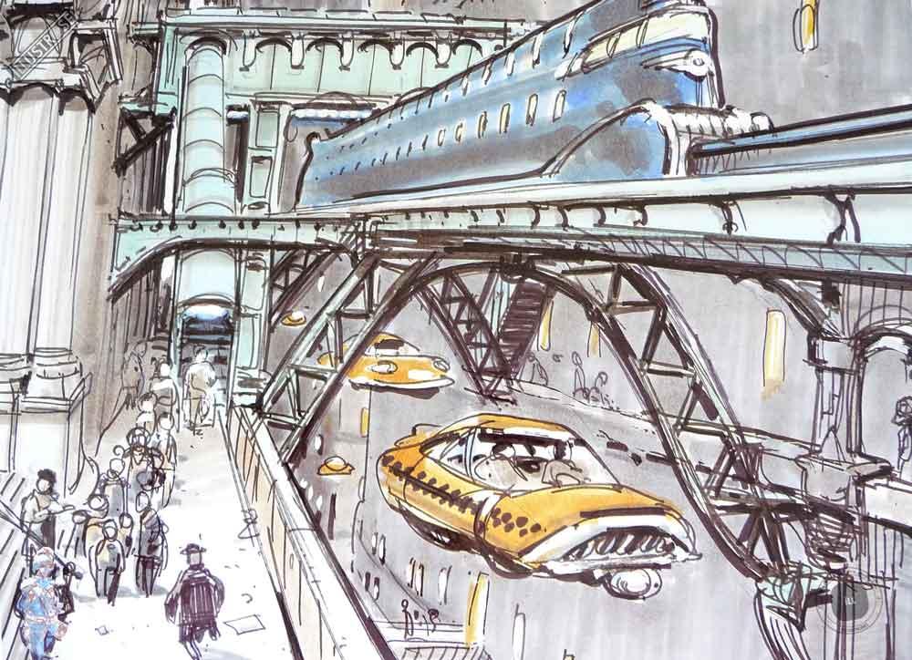 Affiche illustration cinéma 'Le cinquième élément' Jean-Claude Mézières - Illustrose