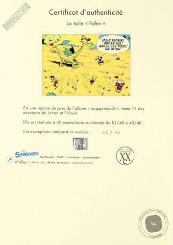 Toile de collection para BD éditions du grand vingitième déco 'Johan et Pirlouit - Fafnir' de Peyo - Illustrose