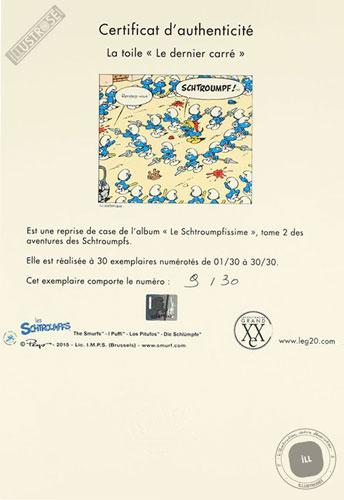 Toile de collection para BD éditions du grand vingitième déco 'Les Schtroumpfs - Dernier carré' de Peyo - Illustrose