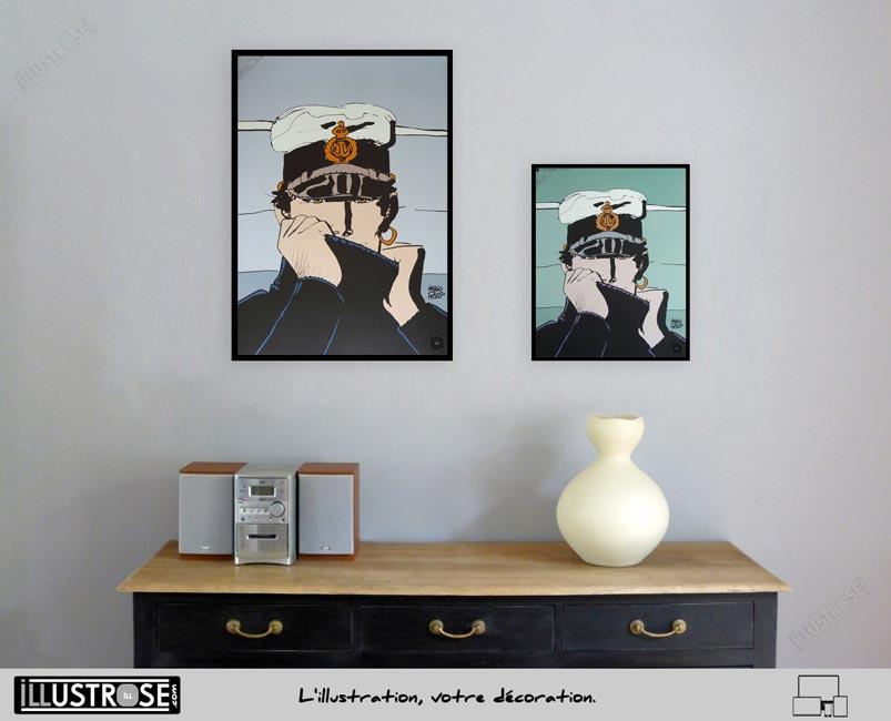 Affiche édition d'art BD Corto Maltese 'Corto pour Dior' de Hugo Pratt - Illustrose