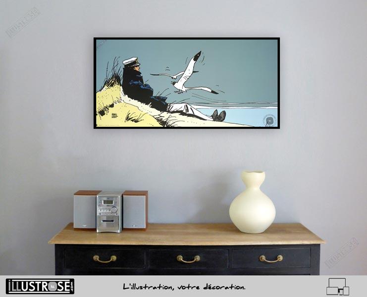Affiche édition d'art BD Corto Maltese 'Corto marin' de Hugo Pratt - Illustrose