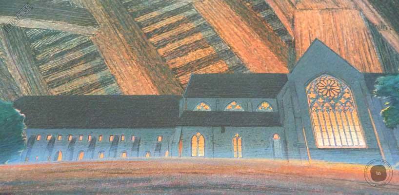 Affiche d'art encadrée François Schuiten, Les cités obscures 'Abbaye de l'Epau' sur papier d'art - Illustrose