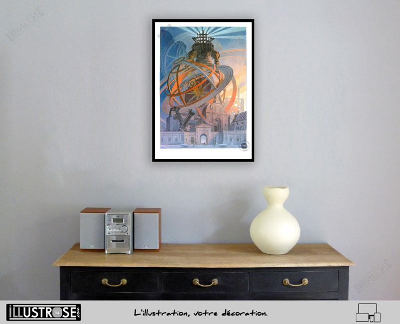 Affiche d'art encadrée François Schuiten, Exposition 'Machines à dessiner' sur papier d'art - Illustrose