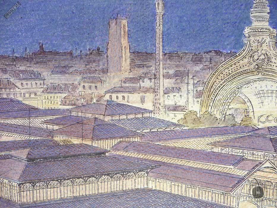 Affiche d'art François Schuiten 'Paris les Halles la nuit' sur papier d'art - Illustrose