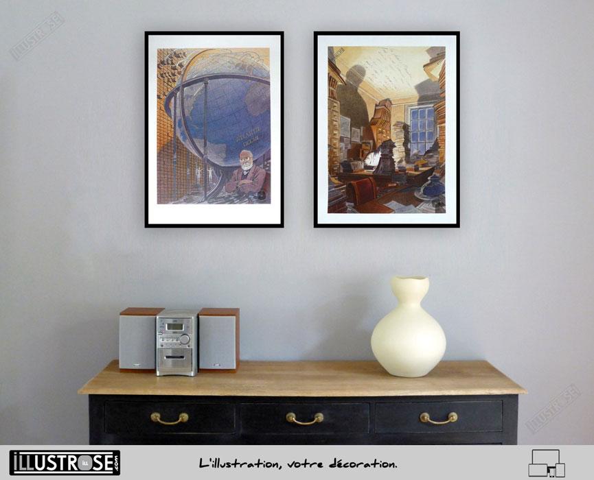 Affiche d'art François Schuiten 'Paul Otlet & Bibliothèque Mundaneum' sur papier d'art - Illustrose