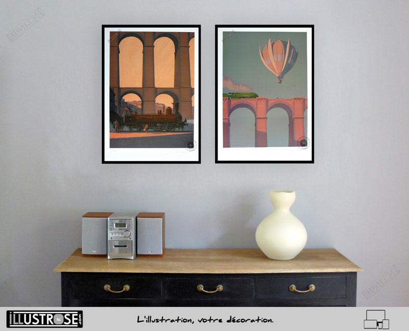Affiche d'art signée encadrée François Schuiten, 'Train Bretagne Express' sur papier d'art - Illustrose