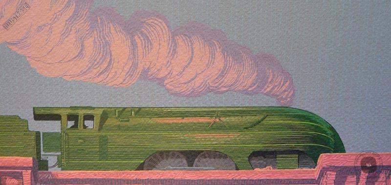 Affiche d'art signée encadrée François Schuiten, 'Train, Envie de ralentir' sur papier d'art - Illustrose