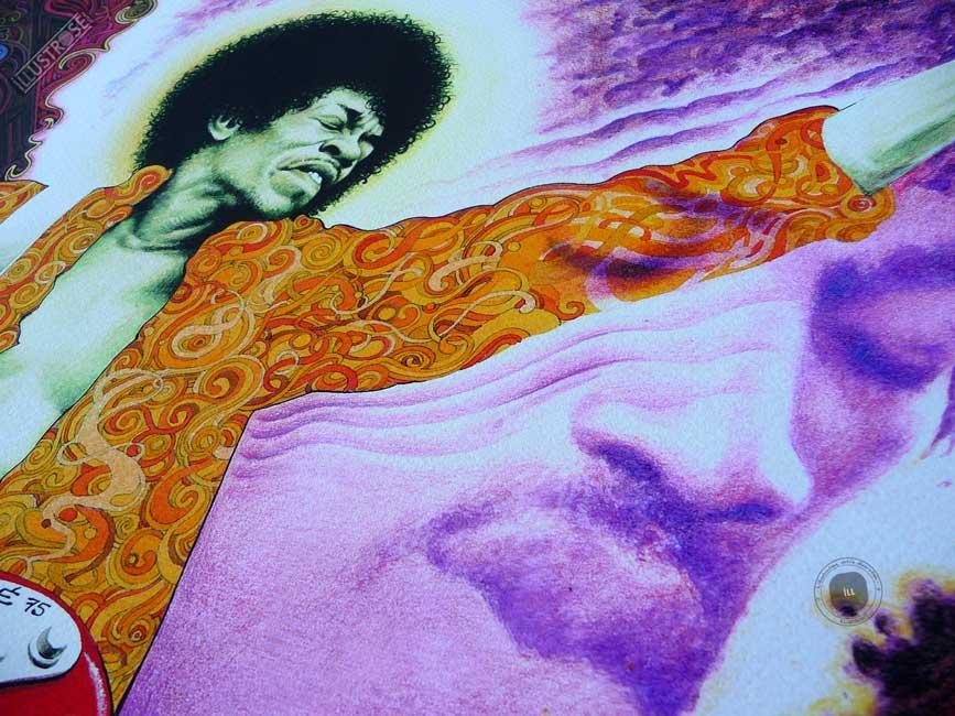 Estampe encadrée, signée et numérotée 'Jimi Hendrix' de Jean Solé - Illustrose