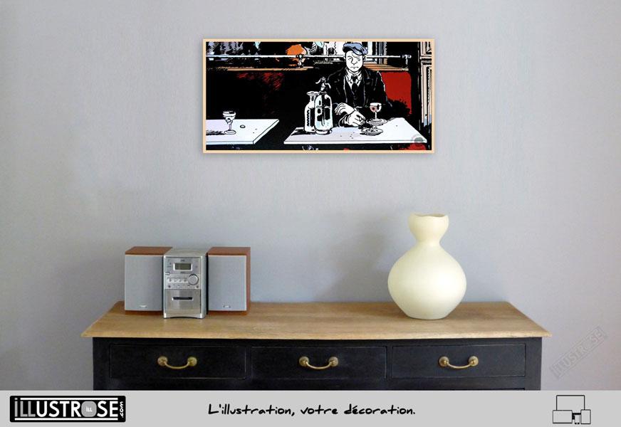 Affiche BD illustration d'art Jacques Tardi encadrée '1915 au bistrot' - Illustrose