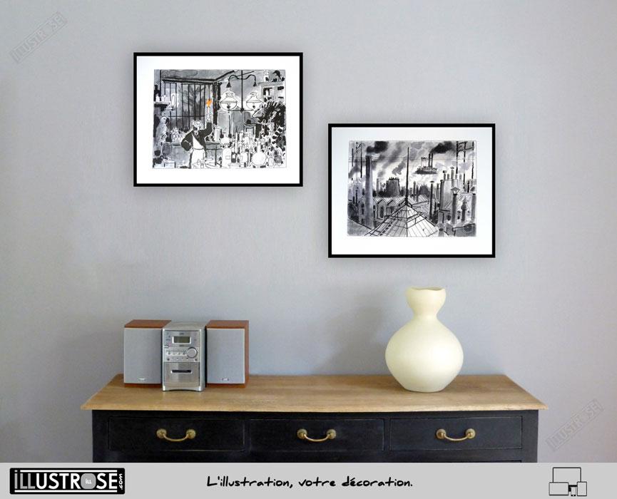 Affiches d'art Jacques Tardi encadrés 'Avril et le monde truqué' - Illustrose
