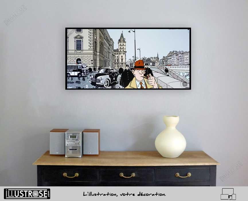 Affiche BD d'art Jacques Tardi encadrée 'Nestor Burma - Paris 1er arrondissement' - Illustrose