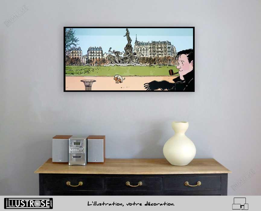 Affiche BD d'art Jacques Tardi encadrée 'Nestor Burma - Paris 11ème arrondissement' - Illustrose