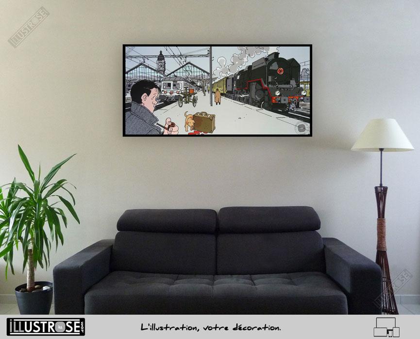 Affiche BD d'art Jacques Tardi encadrée 'Nestor Burma - Paris 12ème arrondissement' - Illustrose