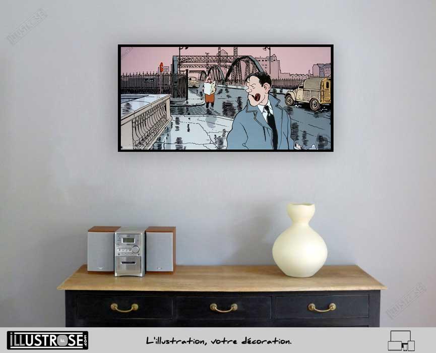 Affiche BD d'art Jacques Tardi encadrée 'Nestor Burma - Paris 13ème arrondissement' - Illustrose