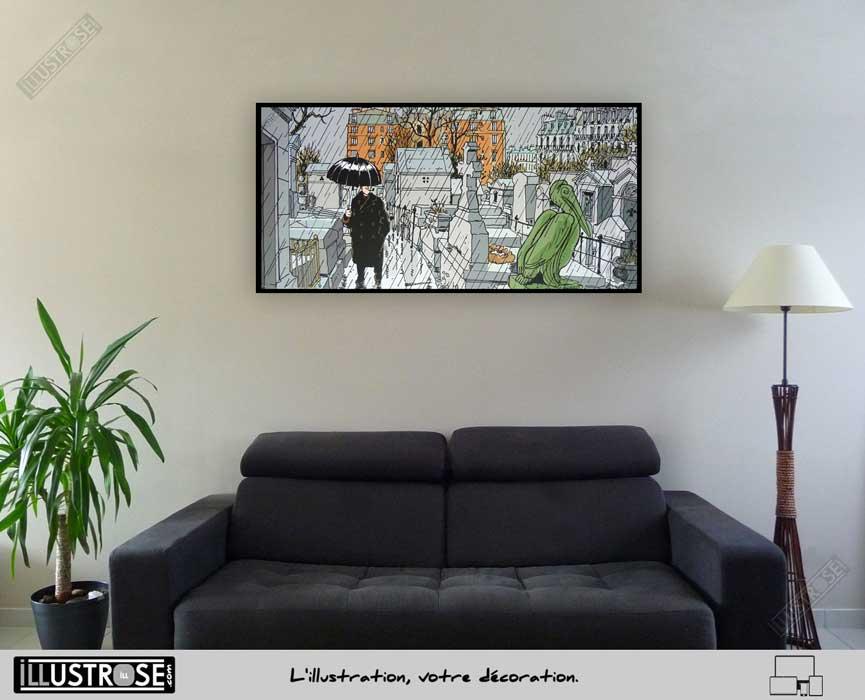 Affiche BD d'art Jacques Tardi encadrée 'Nestor Burma - Paris 20ème arrondissement' - Illustrose