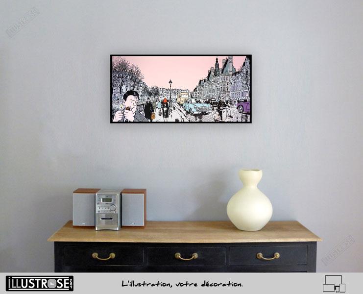Affiche BD d'art Jacques Tardi encadrée 'Nestor Burma - Paris 4ème arrondissement' - Illustrose