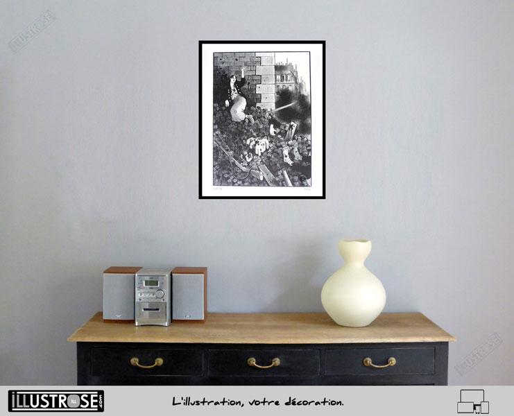 Lithographie BD d'art Jacques Tardi encadrée 'Le cri du peuple - la commune IV' - Illustrose