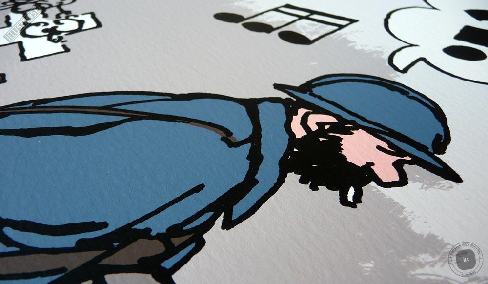 Sérigraphie signée et encadrée Jacques Tardi, 'Putain de guerre, le dernier assaut' sur papier d'art - Illustrose