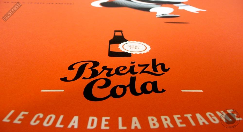 Sérigraphie signée et encadrée Zig by Dezzig, 'Breizh Cola' sur papier d'art - Illustrose
