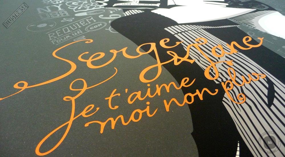 Sérigraphie signée et encadrée Zig by Dezzig, 'Serge & Jane' sur papier d'art - Illustrose