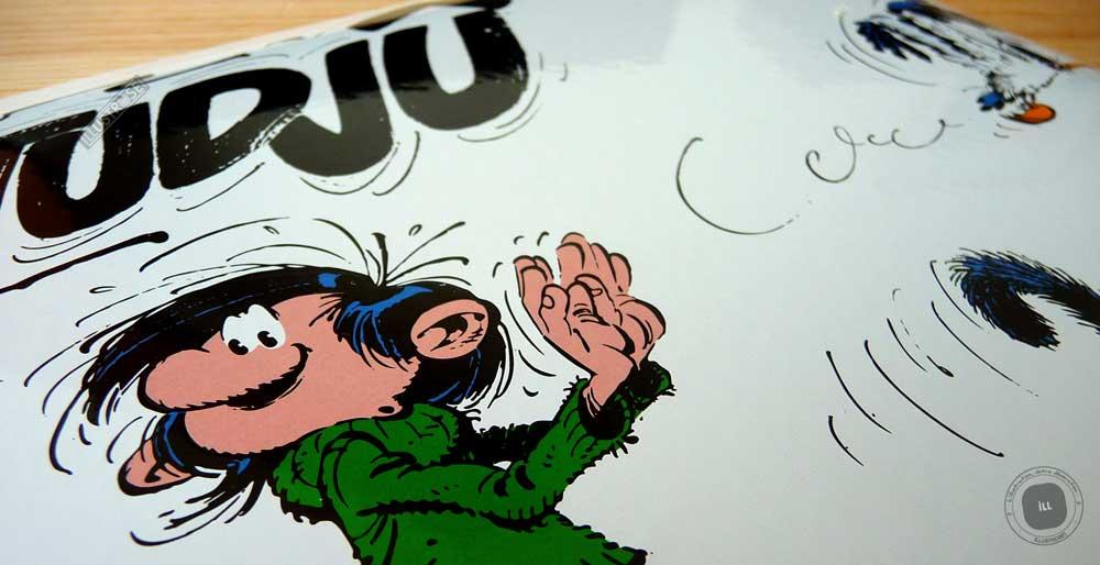 Plaque émaillées para BD Coustoon déco 'Gaston Lagaffe - Rrogntudjû' de Franquin - Illustrose