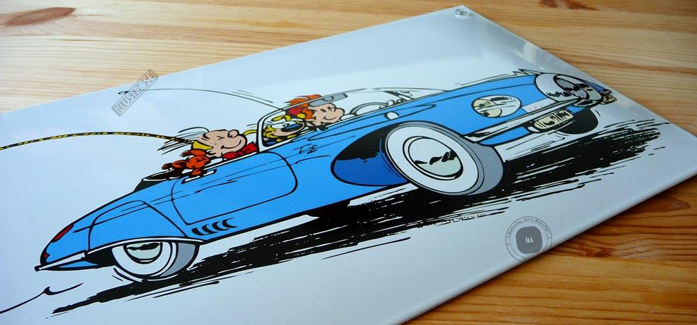 Plaque émaillées para BD Coustoon déco 'Spirou et le Marsupilami - Turbotraction' de Franquin - Illustrose