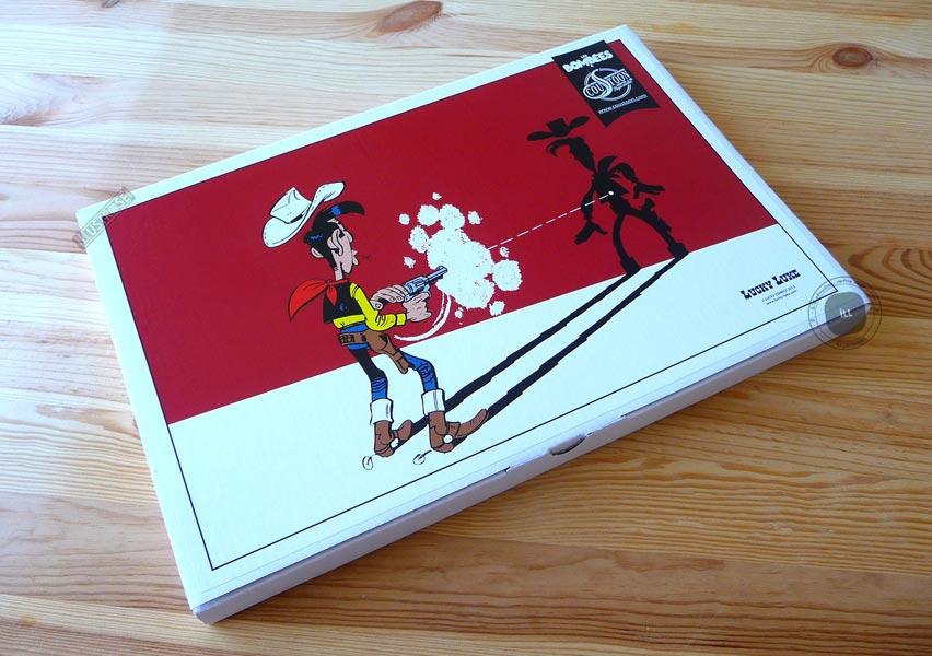 Plaque émaillées para BD Coustoon déco 'Lucky Luke tirant sur son ombre' de Morris - Illustrose