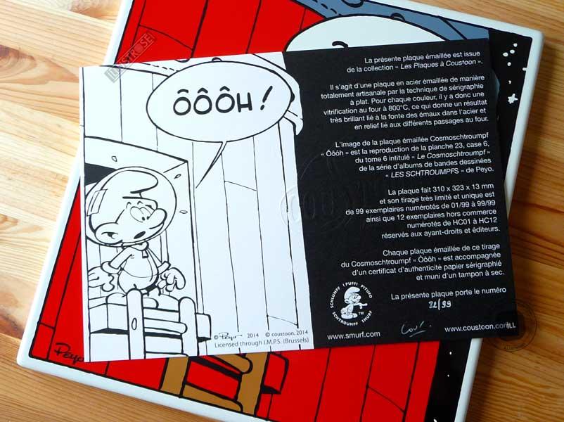 Plaque émaillées para BD Coustoon déco Les Schtroumpfs 'Les Cosmoschtroumpf' de Peyo - Illustrose