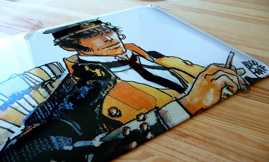 Plaque émaillées para BD Coustoon déco 'Corto Maltese - Les éthiopiques' de Hugo Pratt - Illustrose